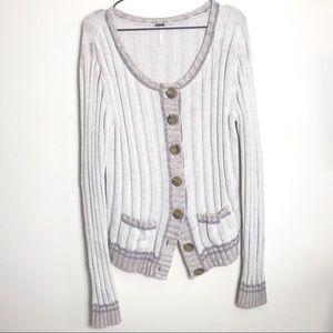 FREE PEOPLE- Chunky Ribbed Button Down Cardigan
